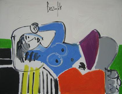 Femme allongée peinture par Jean-Luc Beaufils