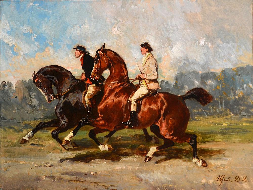 Alfred-de-Dreux-Deux-lads-à-l'entraînement